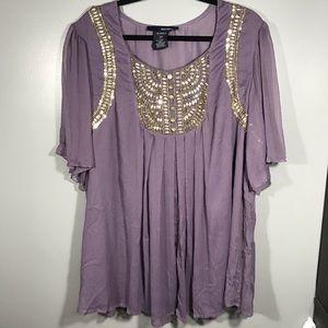 Denim 24/7 beaded flowy blouse flutter sleeves